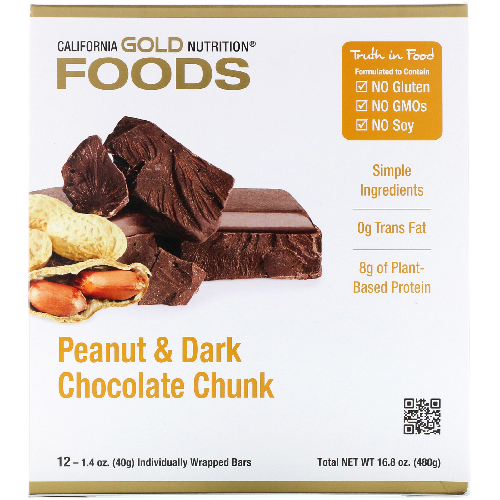 カリフォルニアゴールドニュートリションのピーナッツ&ダークチョコレート